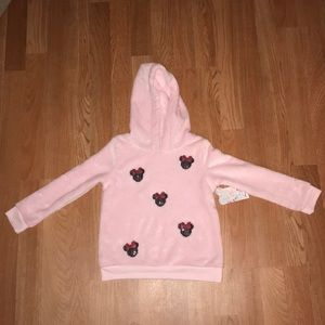 Kids Minnie Mouse Fuzzy Pink Sweater